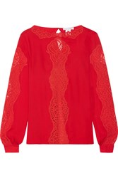 Oscar De La Renta Lace Paneled Silk Chiffon Blouse Red
