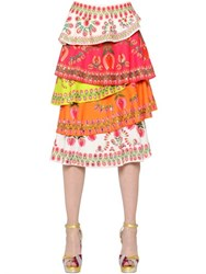 Manish Arora Sequined And Printed Layered Crepe Skirt
