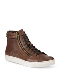 Andrew Marc New York Remsen Lace Up Sneakers Brown White
