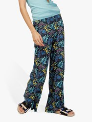 Brora Liberty Print Wide Leg Trousers Midnight Leaf