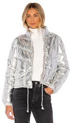 Central Park West Miami Puffer In Metallic Silver.
