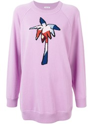 Tomas Maier Palm Tree Embroidered Sweater Pink And Purple