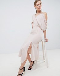 Lavish Alice Asymmetric Cold Shoulder Floaty Midaxi Dress Pink