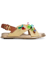 Car Shoe Multicolour Crystal Crossover Sandals Women Leather Metallized Polyester Rubber 39 Metallic