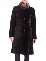 The Fur Salon Reversible Chinchilla And Mink Fur Coat Black Natural