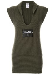 Chanel Vintage Rib Knit Sleeveless Dress Green