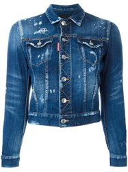 Dsquared2 Cropped Distressed Jean Jacket Blue