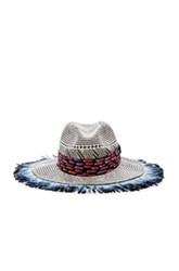 Etro Woven Feather Hat In Checkered And Plaid Ombre And Tie Dye Blue Checkered And Plaid Ombre And Tie Dye Blue
