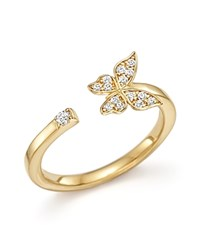 Bloomingdale's Diamond Butterfly Ring In 14K Yellow Gold .10 Ct. T.W.
