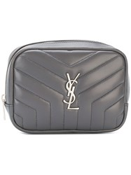 Saint Laurent Zipped Monogram Cosmetic Bag Grey