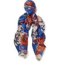 Gucci Tiger Print Modal And Silk Blend Scarf Royal Blue