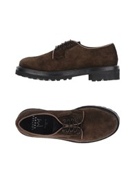 Leather Crown Lace Up Shoes Dark Brown