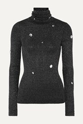 Christopher Kane Crystal Embellished Metallic Ribbed Knit Turtleneck Sweater Gray