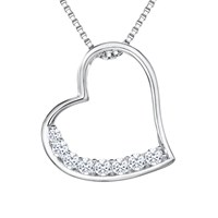 Jools By Jenny Brown Cubic Zirconia Brimming Asymmetric Heart Necklace Silver