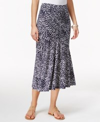 Jm Collection Cheetah Print Pull On Skirt Only At Macy's Blue