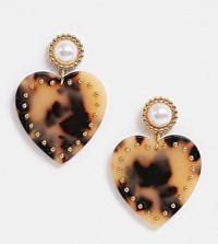 Reclaimed Vintage Inspired Heart Earring In Tort And Pearl Mix Brown