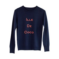 Ille De Coco Merino Intarsia Sweater Navy And Coral Blue Pink Purple