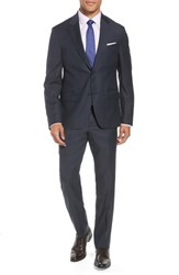 Nordstrom Shop Trim Fit Plaid Wool Suit Navy