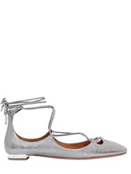 Aquazzura 10Mm Dancer Lace Up Leather Flats