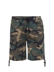 Valentino Camouflage Print Cotton Shorts Green