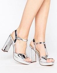 Head Over Heels By Dune Missy Metallic Platform Heeled Sandals Silver