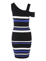 Jane Norman Stripe One Shoulder Jumper Dress Multi Coloured Multi Coloured