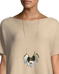 Lafayette 148 New York Multi Leaf Long Statement Necklace Ice Multi