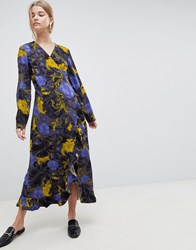 Selected Sonja Floral Wrap Midi Dress Flower Aop Blue