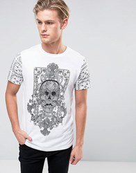 Brave Soul Skull Front And Sleeve Print T Shirt White
