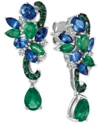 Le Vian Precious Collection Sapphire 1 9 10 Ct. T.W. Emerald 2 1 10 Ct. T.W. And Diamond 1 5 Ct. T.W. Earrings In 14K White Gold Only At Macy's Multi