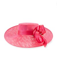 Philip Treacy Asymmetric Upturn Straw Hat Bright Pink