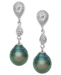 Macy's Cultured Tahitian Black Pearl 8Mm And Diamond Accent Drop Earrings In Sterling Silver