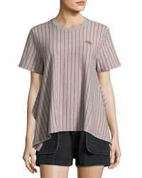 Opening Ceremony Short Sleeve Striped Jersey Tee Gray Gray Pattern