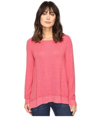 Dylan By True Grit Glam Softest Fleece Asymmetrical Pullover Holly Red Women's Clothing