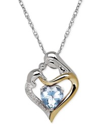 Macy's Aquamarine 1 1 10 Ct. T.W. And Diamond Accent Mother And Child Pendant Necklace In Sterling Silver And 14K Gold