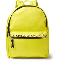 A.P.C. Logo And Leather Trimmed Ripstop Backpack Yellow