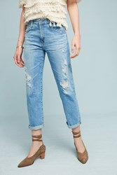 Anthropologie Ag Ex Boyfriend Mid Rise Straight Jeans Denim Dark