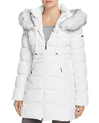 Laundry By Shelli Segal Windbreaker Faux Fur Trim Puffer Coat Real White