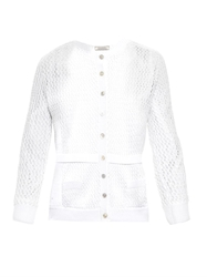 Nina Ricci Open Knit Cotton Blend Cardigan