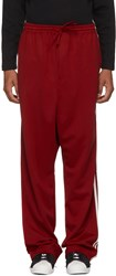Y 3 Red Logo Stripes Wide Lounge Pants