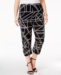 Alfani Plus Size Straight Leg Cropped Pants Only At Macy's Black White Stained Glass