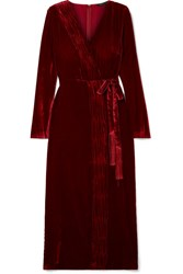 Rachel Zoe Aly Gathered Wrap Effect Velvet Dress Burgundy