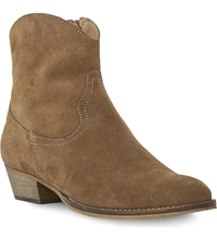 Bertie Province Western Ankle Boots Taupe Suede