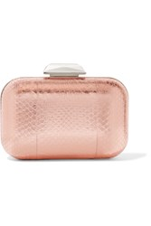 Jimmy Choo Cloud Embellished Metallic Elaphe Clutch Pink