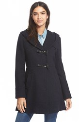 Women's Jessica Simpson Hooded Basket Weave Duffle Coat Navy