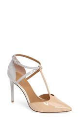 Calvin Klein Women's Savannah Pump Sandstorm Grey Patent Leather