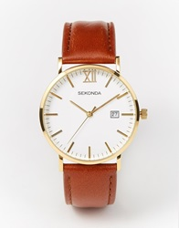 Sekonda Gold Detail Brown Leather Strap Watch