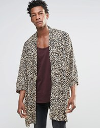 Religion Leopard Print Dexter Kimono Brown Animal