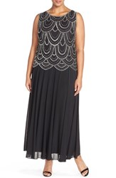 Plus Size Women's Pisarro Nights Beaded Mock Two Piece Gown Black Silver