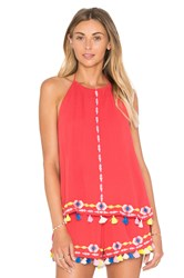 Piper Java Halter Tank In Coral Red